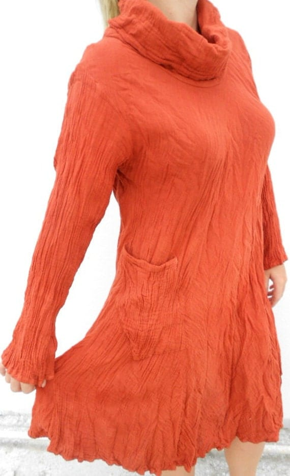 Burnt orange cowl neck collared long sleeve dress