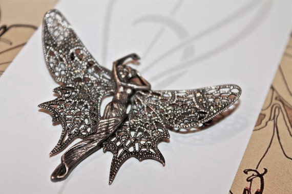 Vintage pin: Beautiful & Unique Silver Art Nouveau Butterfly /Woman Brooch