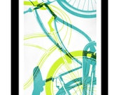Gilclee Bicycle Print - 11.75 x 15.75 Teal & Lime Green