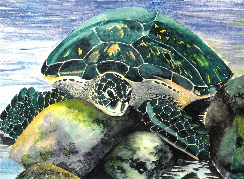 Sea Life Watercolor Turtle Sun Bathing Print