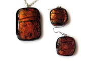 Pendant and earring set - fused glass - Fiery copper dichroic glass