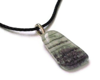 Fused glass pendant necklace - gray skies marbled free form