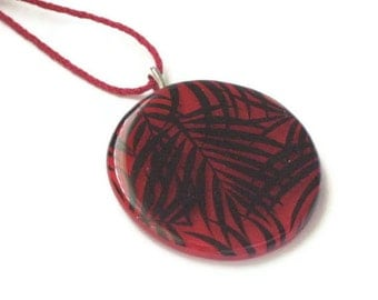 Palm frond pendant - fused glass - big, bold and red - with kumihimo braid cord