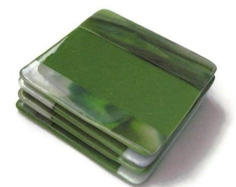 Coasters - moss green fused glass - set of 4