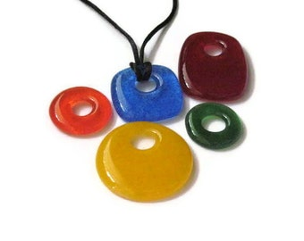 Donut and pillow pendants - 6 pc set - donuts and pillows - fused glass