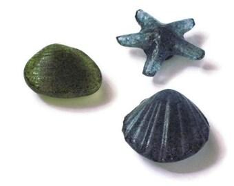 Shell magnets - fused glass sea life - Florida souvenir - set of 3