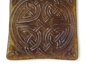 Celtic trivet - candle holder or bottle coaster - sienna brown fused glass