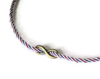 Kumihimo infinity necklace - adjustable - red, whte & blue