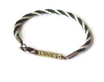 LOVE bracelet - Kumihimo braid - green and white