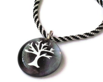 Fused glass pendant necklace with tree silhouette - kumihimo braid cord