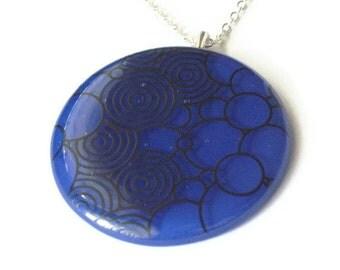Big blue bubbles - fused glass pendant necklace