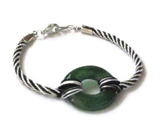 Fused Glass donut bracelet - kumihimo braid