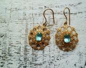 30% DISCOUNT Vintage rhinestone earrings Soviet, Russian aqua blue