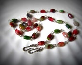 Convertible necklace Silver necklace tourmaline gemstone wire wrapped, bracelet , free shipping