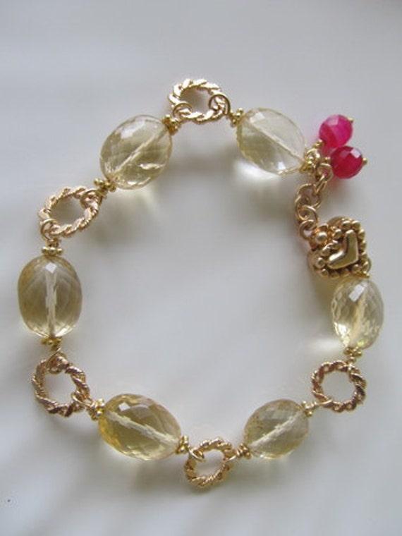 golden gemstone Bracelet, Citrine and Jade