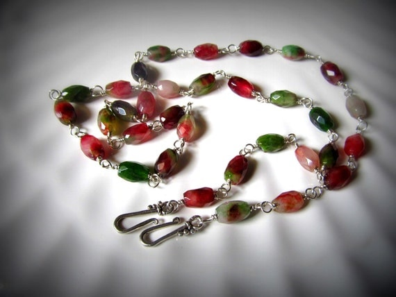 Special order for Linda..Convertible necklace Silver necklace tourmaline gemstone wire wrapped, bracelet , free shipping