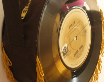 Vinyl record bag made with two singles - Chocolate brown with gold fringe