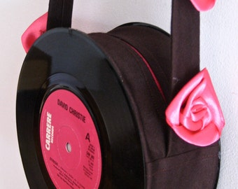 Vinyl record bag made with two singles - Chocolate brown with hot pink flower strap