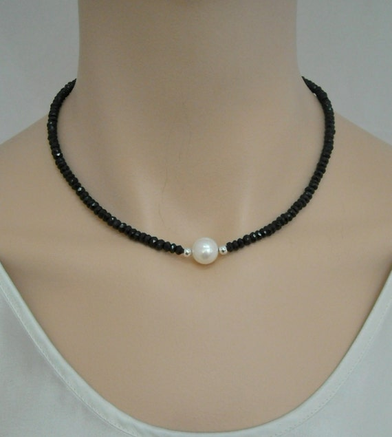 Black spinel necklace with freshwater pearl and sterling silver