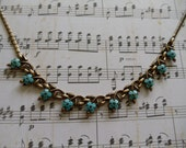 1940s Trifari Blue Flower Enameled Choker Necklace