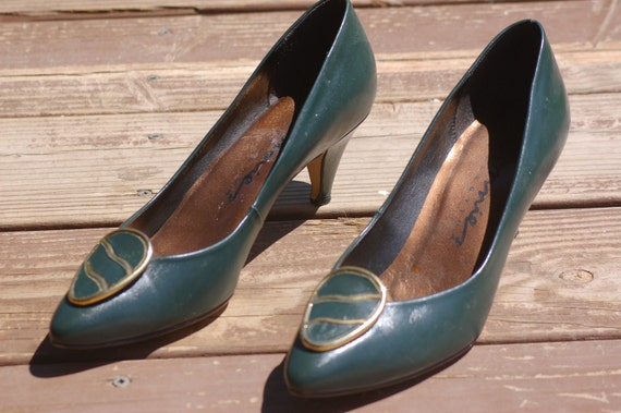 Vintage Olive Green Connie Leather Dress Shoes