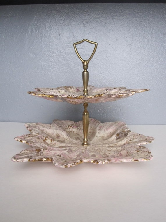 Vintage Pink and Gold Double Decker Cookie Platter or Tidbit Tray