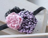 Black and pink rosette flower duo with lace