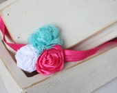 Clearance- Three flower headband for girls. Hot pink, white and turquoise flowers