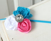 Pink, white and blue flower trio headband