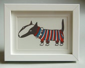 Miniature Bull Terrier in woollie - SCREEN PRINT, without frame