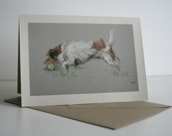 Jack Russell Terrier cute dog card 'My ball' from an original pastel charcoal sketch