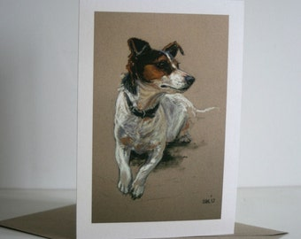 Jack Russell Terrier cute dog card 'I'll pose' from an original pastel sketch