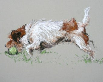 Cute, energetic Terrier dog LE fine art print 'My ball..' from an original soft pastel