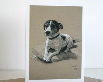 Jack Russell Terrier cute dog card 'Smiler' from an original charcoal and chalk sketch