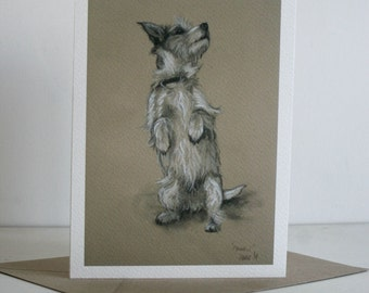Jack Russell Terrier dog art card greetings card  'Please' from an original charcoal and chalk sketch by artist H Irvine