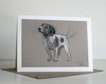 Jack Russell Terrier dog greetings card dog card 'Waggy Tail' from an original charcoal and chalk sketch drawing
