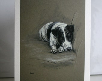 Jack Russell Terrier cute dog card 'In my spot' from an original charcoal and chalk sketch