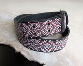 Womens exclusive leather belt Latvian patterns, MADE to ORDER