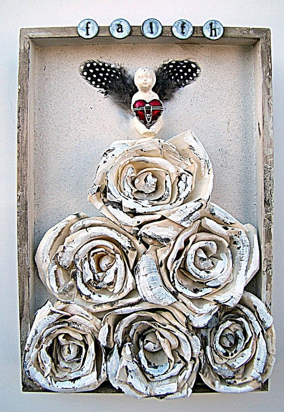 Angel Rose Art Mixed Media Assemblage Collage Shadow Box Wall Plaque Faith