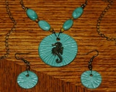 Sea Foam Polymer Clay Seahorse Necklace and Earrings Set