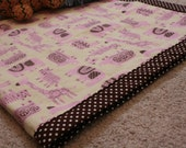 Swaddling blankie - double sided cotton and flannel in Funny Farm