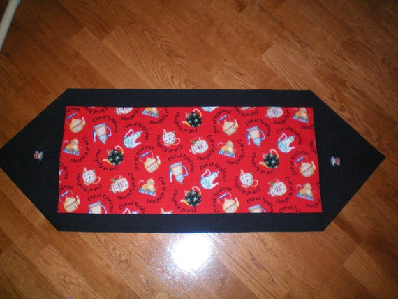 Reversible Tea Pots Table Runner - Red with Tea Pot Designs - Black Border with Embroidered Tea Cups on Each End - Solid Black Back
