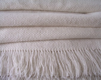 Handwoven Shawl Wool and Mohair Snowdrift