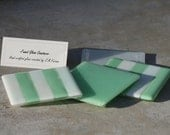 Fused Glass Coasters-Sea Green and White (Set of 4)