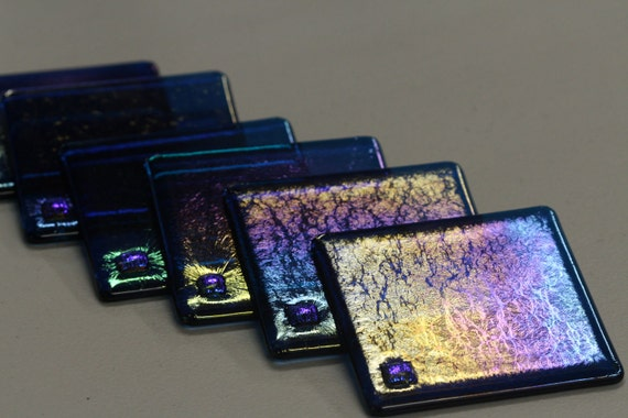 Fused Glass Coasters- Iridescent Deep Aqua w/ Dichroic Accent (set of 6)
