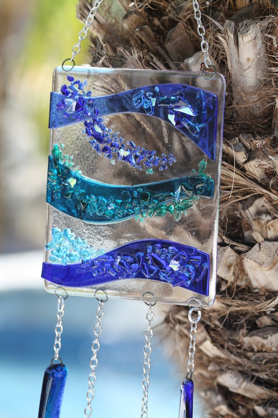 Fused Glass Windchime/Suncatcher- Blue and Breezy (Made to Order)