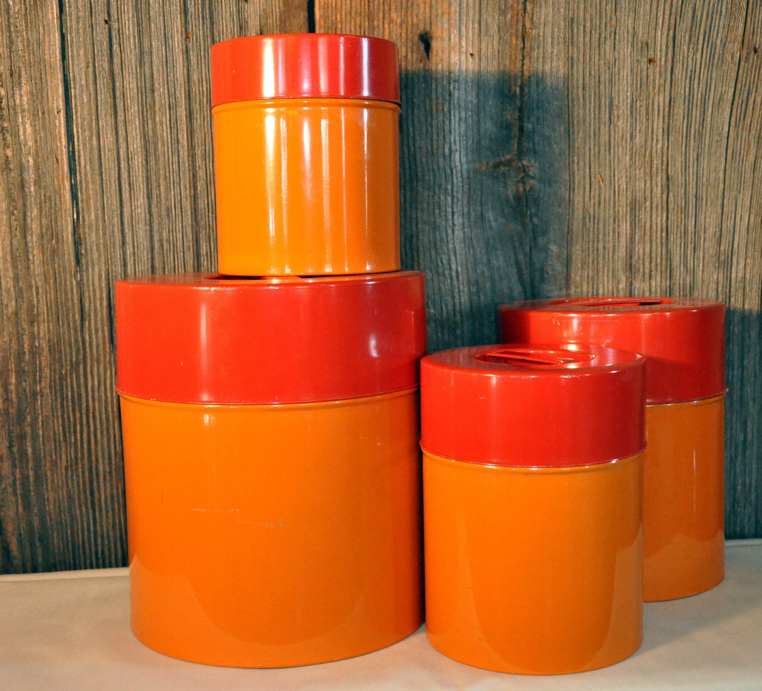 mid century modern orange kitchen canisters