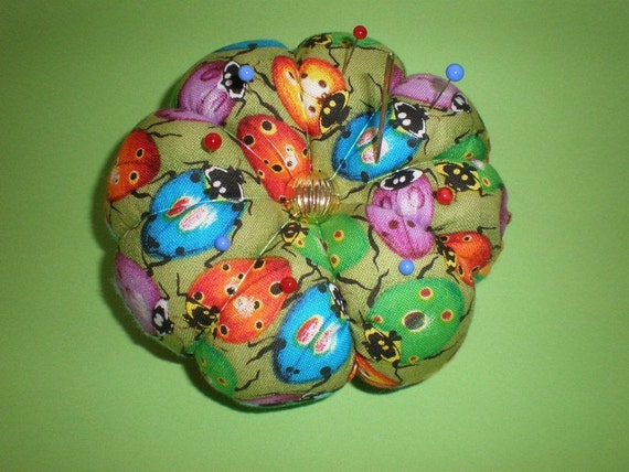 Pin Cushion Ladybug FABRIC. Great for a sewing gift - Round Pincushion double sided.