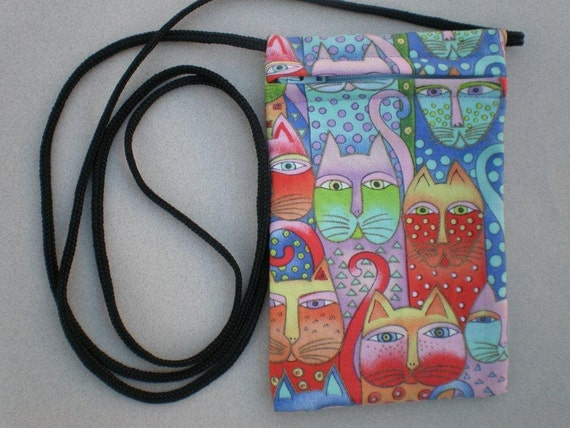 Pouch Zip Bag - CAT Fabric. - Great for Walkers, markets, travel. Cell Phone Pouch. Small fabric purse.