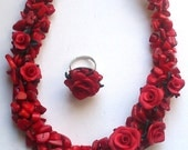 Coral red necklace and ring- Red ring- Red necklace